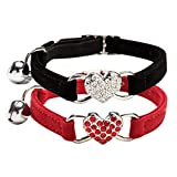 CHUKCHI Cat collar with bell bling-Cat Adjustable Collar with Crystal Heart Charm and Bells 8-11 Inches(Black+Red)