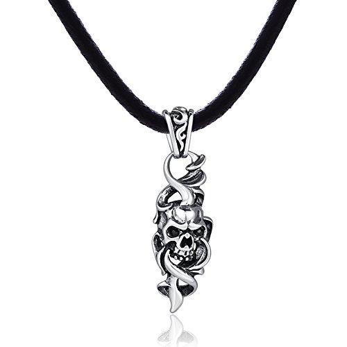 DonDon-Collana in pelle 50cm e teschio ciondolo in acciaio inox con pietra nera in un sacchetto in velluto