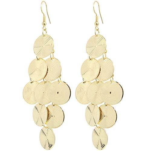 2LIVEfor Lange Ohrringe Silber Gold Tropfen Kreise Ohrringe lang Hängend Groß geometrisch Blatt Rund Ohrringe Bohemian Ohrringe Blätter Ornamente (Gold)