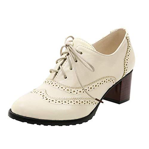 bsatz Leder Schnürhalbschuhe Low Top Lederschuhe Oxford 6cm Absatz Schuhe Elegante Vintage Schwarz Braun Beige Gr.34-43 BG41 ()