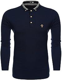 Coofandy Polo Homme Manches Longues T-shirt Coton Casual Slim Fit Col Boutonné Taille S-XXXL