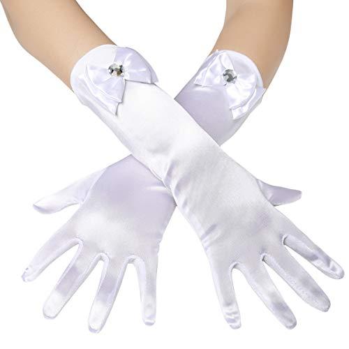 Coucoland Mädchen Satin Handschuhe mit Schleife klassisch Hochzeitskleid Prinzessin Handschuhe...