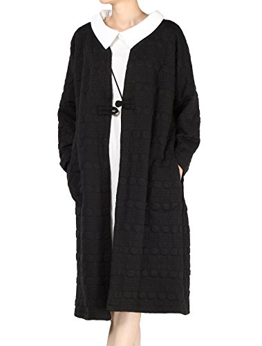 MatchLife Femme Col Rond Frog Bouton Longues Coton Manteau Style-2 Noir