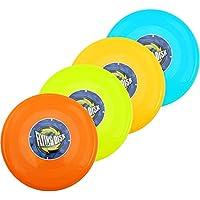 com-four® 4 Discos de Frisbee (4 Piezas - Verde Claro. Amarilla. Turquesa. Rojo)