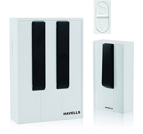 Havells Piano Plastic Wireless Digital Doorbell (White and Black)
