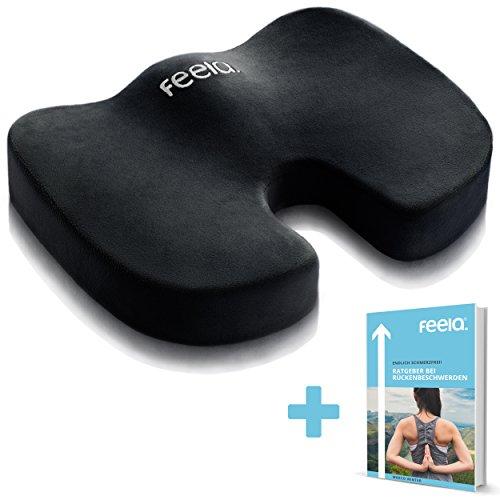 feela. Orthopädisches Sitzkissen zur Entlastung von Bandscheiben und gegen Rückenschmerzen - Ergonomisches Sitzkissen für Bürostuhl I Rollstuhl sowie Steißbein-Entlastung inkl. E-Book (Schwarz)