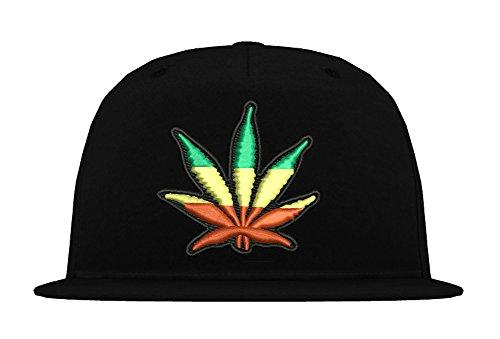 TRVPPY 5-Panel Snapback Cap Modell Cannabis Reggae, Schwarz, B610 (Jamaika Baseball)