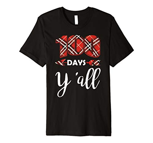 100 Days Y'all Happy 100th Day Of School Plaid Gift T-Shirt