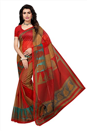 Fabwomen Net Saree with Blouse Piece (Red_Free Size)