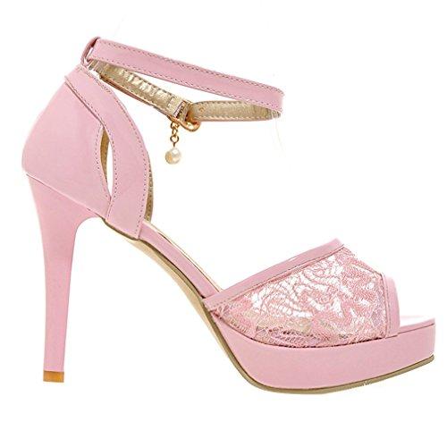 YE Damen Riemchen Lackleder Peep Toe Stiletto High Heel Plateau Sandalen mit Spitze und Schnalle Modern Schuhe Rosa