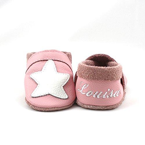 little foot company® 8242 Krabbelschuhe Babyschuhe Lauflernschuhe mit Namensstickerei Seestern weiches Leder rosa 18/19 ca. 9-16 Monate