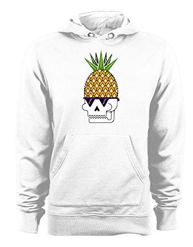 Felpa con cappuccio Pineapple Skull - Teschio Ananas - - Tutte le taglie Bianco