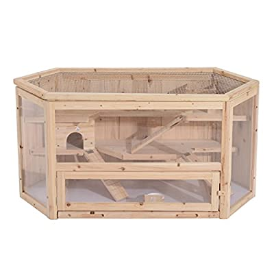 Pawhut Large Wooden Hamster Cage Rodent Mouse Pet Small Animal Kit hut Box Double Layers Easy Clean by Sold By MHSTAR