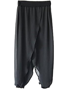Mujer Cintura Alta Elasticos Gasa Baggy Pantalon Palazzo Pantalones Anchos Negro Talla única