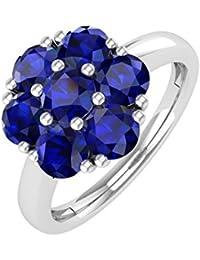18K Gold Blau Saphir Rund Engagement Ring (11/4Karat)