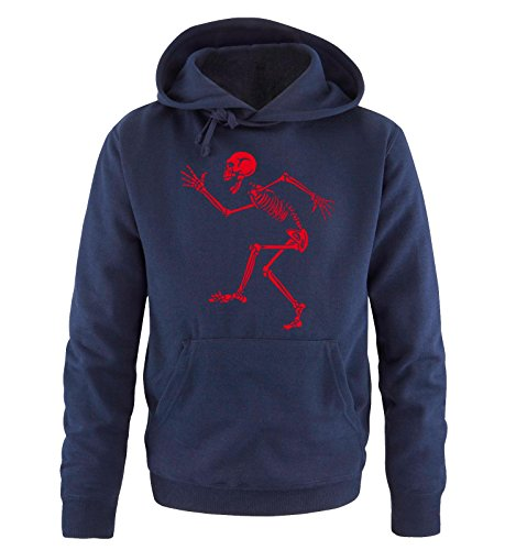 Comedy Shirts - DANCING SKELETON - Uomo Hoodie cappuccio sweater - taglia S-XXL different colors blu navy / rosso