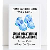 Fathers Day Framed Print Funny Superhero Trainers Personalised Poster Gift for Him A4 or A3