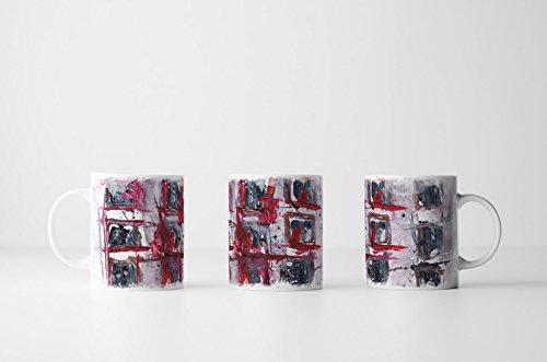 Hintergrund, Rote Umrandung (EAU ZONE Design Abstrakt Tasse Geschenk dunkelstahlblaue Abstraktion,rote Umrandung,hellgrauer Hintergrund)