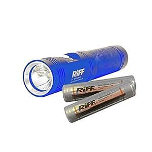 Riff TL-Mini Tauchlampe mit 2 Akkus Typ 18650 im Sparset (Farbe: blau)