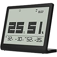 HOVNEE Termómetro Higrómetro Digital Interior,Vertical, ultrafino,Pantalla grande para Tiempo, temperatura, humedad y previsión del tiempo.Conveniente para el hogar, la oficina,habitación del bebé,ect