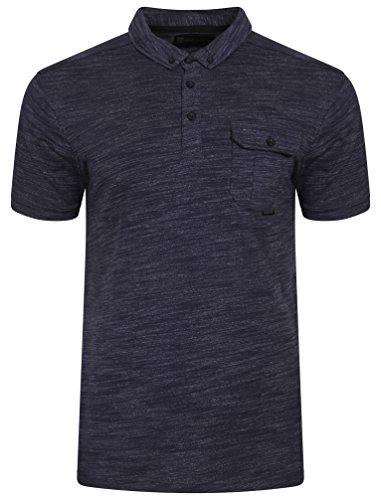 Dissident Herren Dulwich Space Dye Kurzarm Kragen Poloshirt Größe S-XXL Blau