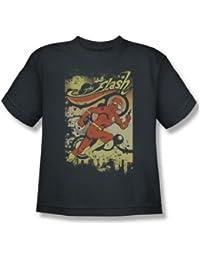 Das Flash-Just Passing Through Jugend Kurzarm T-Shirt in der Holzkohle von DC Comics