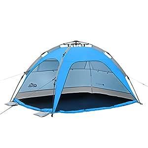 Qeedo Strandmuschel Quick Palm - Blau mit UV-Schutz (UV80 nach UV-Standard 801) - kleines Packmaß - schnell aufzubauender Sonnenschutz