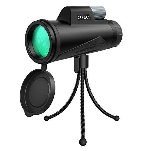 Criacr Monokular Teleskop, 12X50 Monokulare Teleskope, Wasserdicht HD Teleskop Monokular mit Handy Halterung & Stativ, BAK4 Prisma - für Vogelbeobachtung, Reisen,Tiere & auch für die Jagd