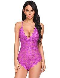 Avidlove Femme Body Dos Nu Lingerie Sexy Nuisette Babydoll Dentelle sous- vêtements De Nuit c34d8915a3a
