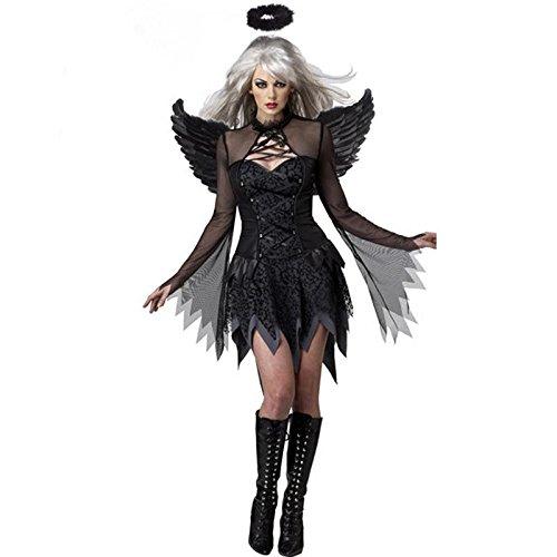 CYY Halloween Vampire Black Ghost Braut Uniform Party Königin Hexe Schwarz Engel Rolle Spiel - Engel Flügel Muster Für Kostüm