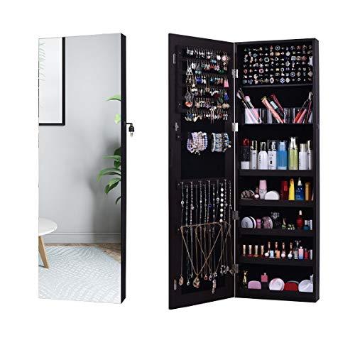 Schmuckschrank, AOOU Schmuckschrank mit , Mit 3 Multifunktionsboxen, Geschlossener Schmuckschrank und Wandspiegel, Große Kapazität,Hängend, Kann an Türen, Wänden und Schränken aufgehängt werden-Braun