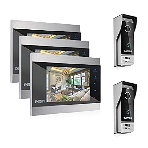 TMEZON 7 Inch Color LCD Touch Button Video Door Phone Doorbell Intercom Entry System Kit 3-Monitor 2-Camera Night Vision,Support Recording/Snapshot