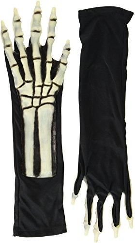 Heitmann Deco Halloween - Skelett-Handschuhe schwarz-weiß - für Erwachsene - Ideal für Karneval und - Und Schwarz Halloween-handschuhe Weiß