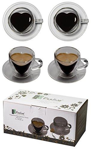 """2x 70ml doppelwandige """"Herzform"""" Espresso-Tassen mit Henkel und Untersetzer, modern, elegant und edel für Ihren ganz besonderen Espresso – auch als Geschenk geeignet, by"""