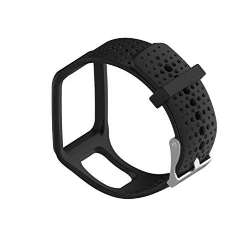 Für TomTom Runner Watch Transer® Ersatz Uhrenarmbänder für TomTom Runner Cardio GPS Watch/TomTom Runner+HRM Bandbreite: 25MM; Band: 24cm (Schwarz)