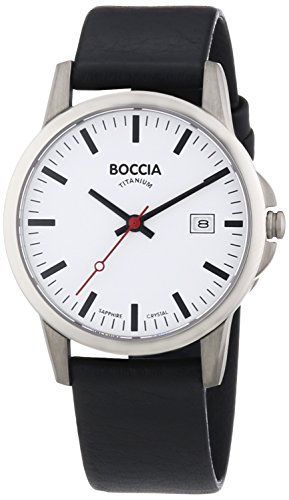 Boccia Herren-Armbanduhr XL Titanium Analog Quarz Leder 604-18