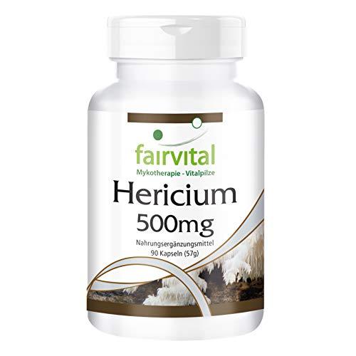 Hericium Erinaceus 500mg - HOCHDOSIERT - VEGAN - 90 Kapseln - Hericium erinaceus - Pilzpulver