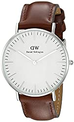 Daniel Wellington St Andrews Silver Women's Quartz Watch With White Dial Analogue Display & Brown Leather Strap 0607dw