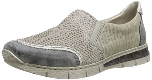 Rieker M2855 Women Loafers, Mocassins femme Gris - Grau (asphalt/white-silver/quarz/grey / 45)