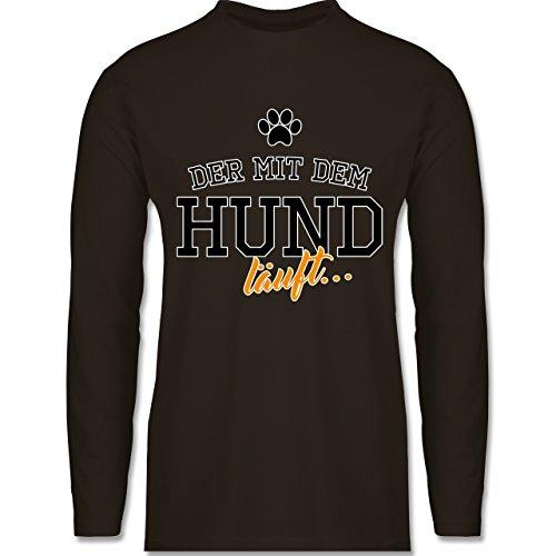 Hunde - Der mit dem Hund läuft - Longsleeve / langärmeliges T-Shirt für Herren Braun