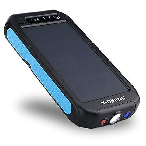 Chargeur Solaire Batterie Externe Powerbank Portable 12000mAh pour Telephone avec 2 USB Lumière LED Etanche Haute Conversion Energie pour iPhone iPad Smartphone Android Samsung HTC Tablette Blu Noir