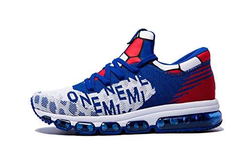 Onemix Air Herren Schuhe Leicht Laufschuhe Sportschuhe mit Luftpolster Turnschuhe Mid-Top Sneaker Blau Weiss 44 EU (Heiße Männer, Halloween)