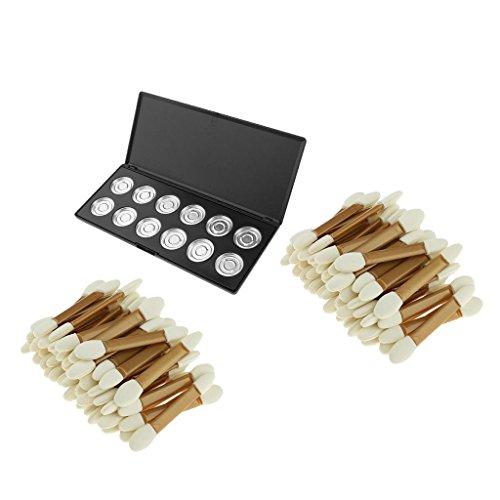 MagiDeal 12 Compartiments Palette Vide de Maquillage pour Fard à Paupières Rouge à Lèvres + 100pcs Brosse à 2 Extrémités en Eponge Jetable Aplicateur de Maquillage