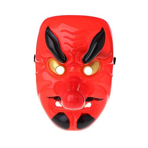 ZOOMY Japanischer Buddhismus Prajna Halloween Scary Maske Cosplay Horror Kostüm Requisiten Rot