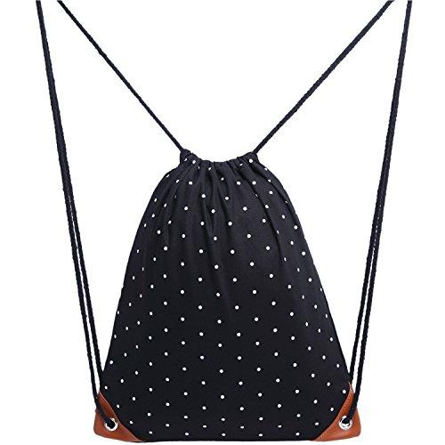Uworth Bolsa de Cuerdas Bolsa con Cordón Mochila Lunares Negro