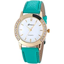 vovotrade GINEBRA Moda mujer analogico cuero reloj de pulsera de cuarzo relojes de diamantes Verde