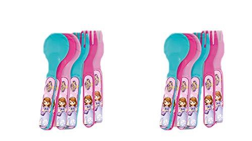 ALMACENESADAN 2260; Pack 12 Besteck Party und Geburtstag Disney Princess Sofia; 6 Löffel und 6 Gabeln; Kunststoffprodukt; KEIN BPA. -