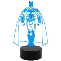 Generico lámpara luz LED 3d 7colores Batman Cómic Idea regalo original cumpleaños personaggio superhéroe Night Light