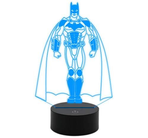 Generico LAMPADA luce led 3D 7 colori BATMAN Fumetto Idea regalo originale compleanno Personaggio supereroe Night Light