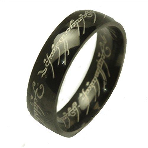 Titanio anello in acciaio inox nero argento ipoallergenico e anello da uomo leggero da donna, acciaio inossidabile, colore: black, cod. TAM_16_0093